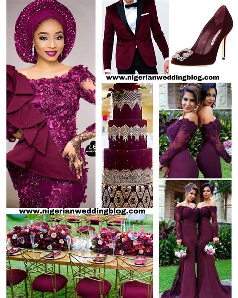 Nigerian Wedding Burgundy Wedding Colour Scheme   Afro