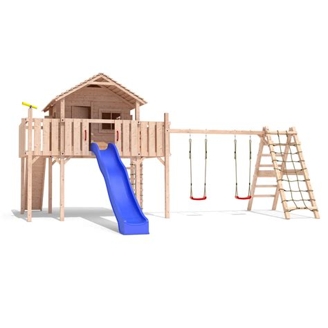 playhouse with swings fantasio play tower climbing frame slide swings treehouse