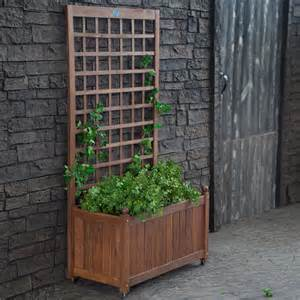 large and wood herb planter box with trellis and