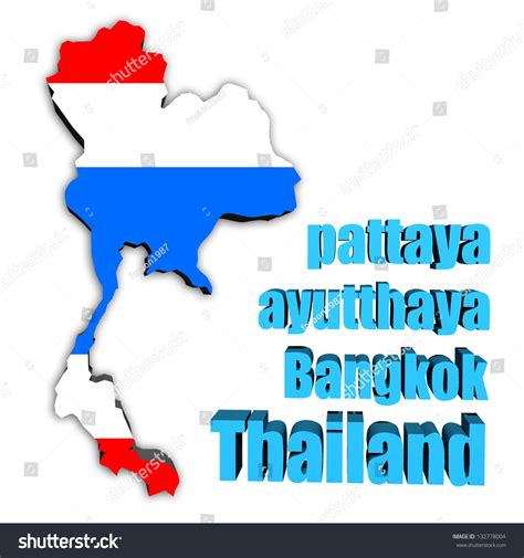Search Thailand Map Of Thailand In Thai Flag Colors Stock Photo 132778004