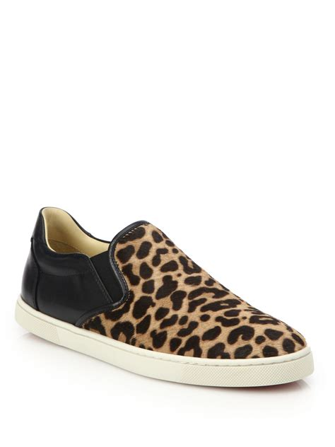 leopard sneakers christian louboutin master key leopard print calf hair
