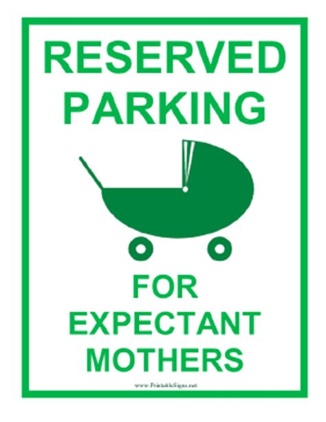 Printable Expectant Mother Reserved Parking Sign Printable Reserved Parking Sign Template