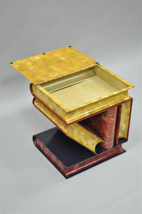 Stacked Book End Table by Italian Tole Metal Painted Stacked Book Form Flip Top Side