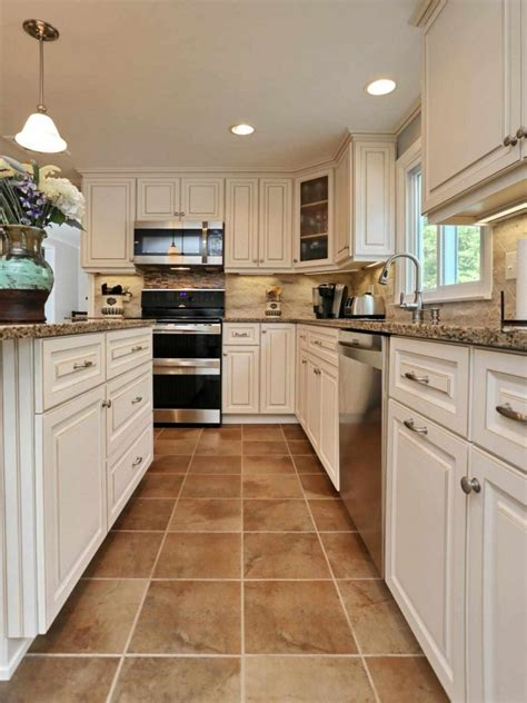 white kitchen cabinets with beige tile floor morespoons 0b8529a18d65