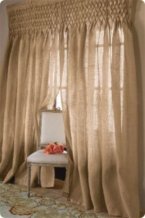 Smocked Burlap Curtains Smocked Jute Drapery Window Dressings Jute Curtains And Smocking