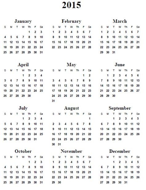 2015 calendar template free 5 best images of 2015 calendar printable 2015 calendar