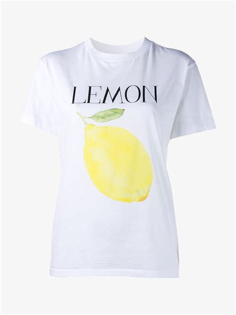 Lemon Tshirt lyst ganni lemon print cotton t shirt