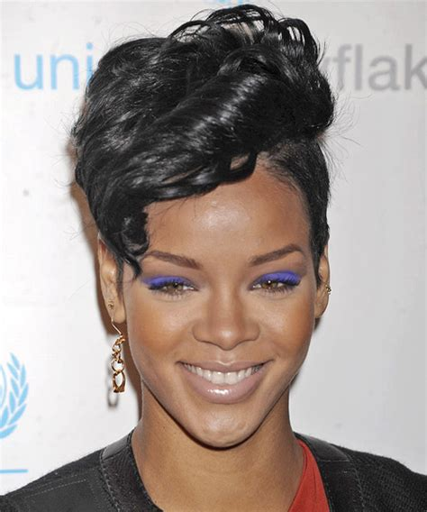 rihanna short hairstyles front and back rihanna short wavy alternative undercut hairstyle black