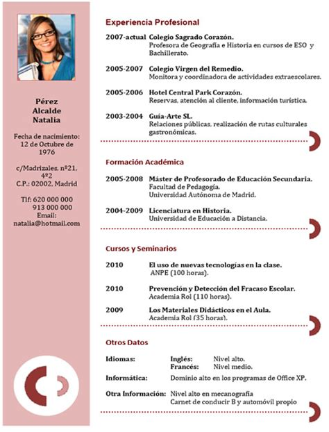 Modelo Curriculum Vitae Gastronomico Plantilla N 186 25 Cvexpres