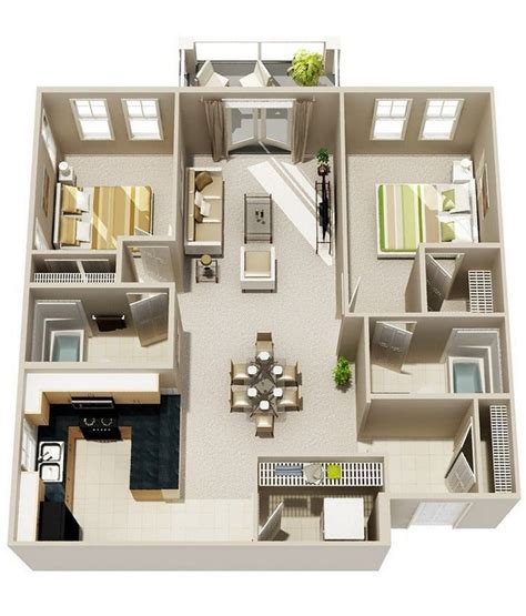 20 awesome 3d apartment plans with two bedrooms part 2 20 awesome 3d apartment plans with two bedrooms part 2