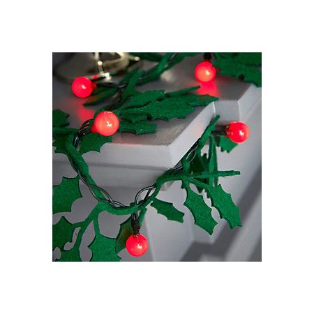 led christmas holly berry lights battery operated 20 led felt berry bulb string lights departments diy at b q