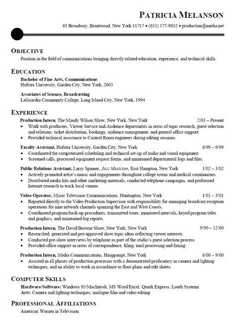 Best Resume Sle For Intern Resume Sle For Communications Broadcasting Media Intern