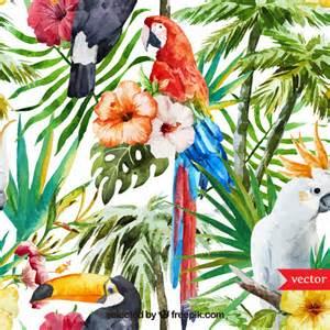 Hibiscus Flower Fabric - fondo de acuarela tropical descargar vectores gratis