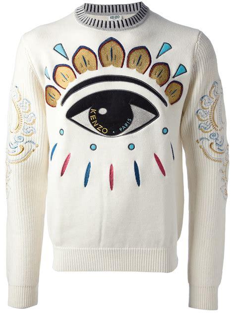kenzo eye sweater in white for lyst