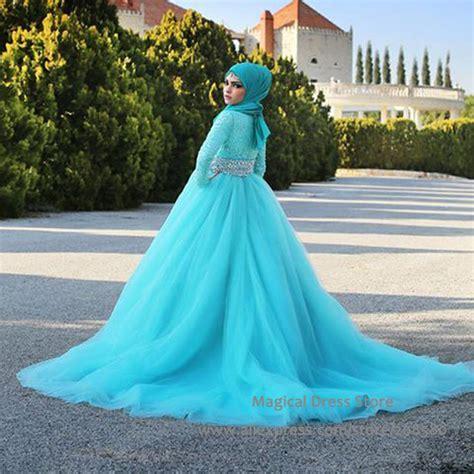 turquoise wedding dresses aliexpress buy turquoise sleeve muslim wedding