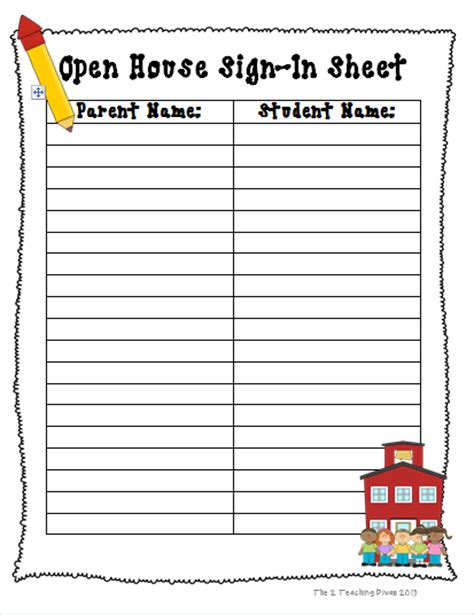 open house sign in sheet template printable forms calendar template 2016
