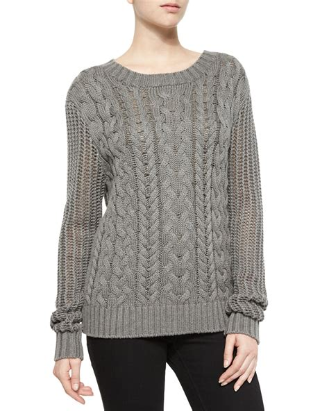 Cable Knit Sweater frame cable knit pullover sweater in gray lyst