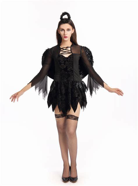 Costume Hallowen Black 1 black fallen costume witch costume