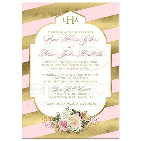 monogrammed wedding invitation blush pink faux gold