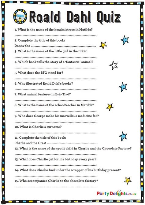 printable quiz free printable roald dahl quiz party delights blog