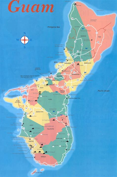 printable road map of guam large detailed travel map of guam guam large detailed