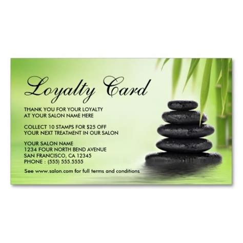 day spa or massage salon loyalty cards double sided