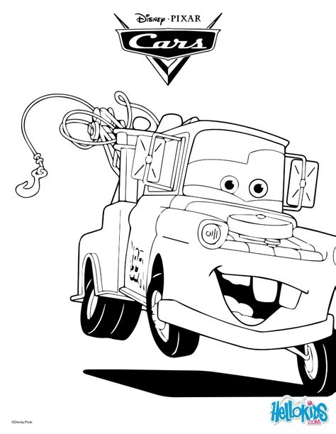 coloring pictures of mater from cars mater the tow truck coloring pages hellokids com