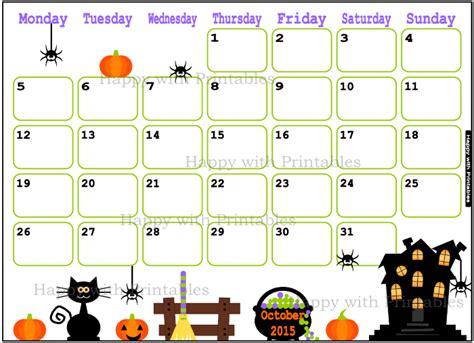 printable calendar october 2015 cute happywithprintables calendar october 2015 cute planner