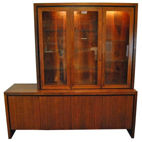 mid century modern two pc teak buffet china display