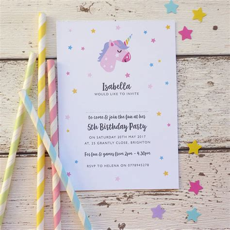 Personalised Invitations by Unicorn Personalised Invitations By Cherub