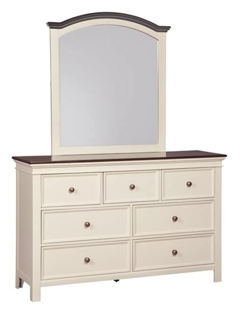 White Brown Dresser Woodanville Casual White Brown Solid Hardwood Glass