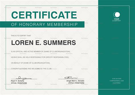 honorary member certificate template honorary membership certificate design template in psd