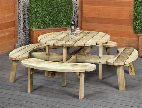 round table and bench round picnic bench