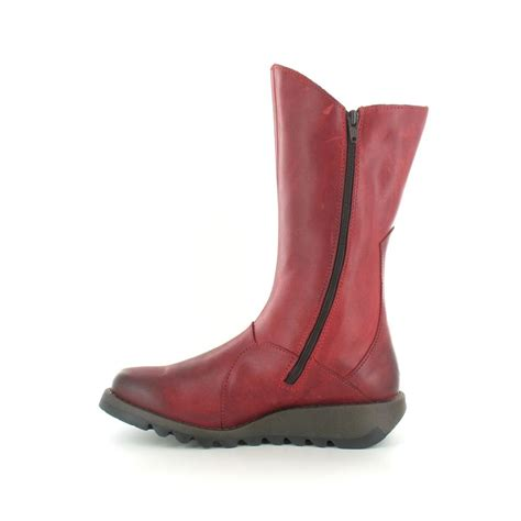 fly mes 2 womens leather mid calf wedge boots in