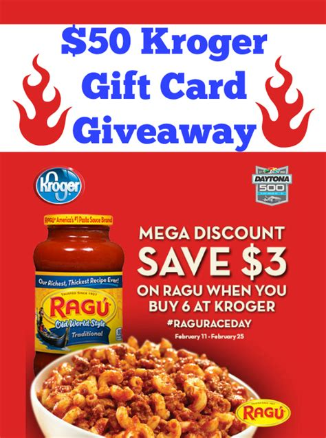 Kroger Gift Card Sale - closed 50 kroger gift card giveaway save on ragu at kroger mega