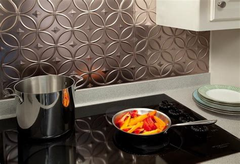 faux metal backsplash panels and tiles interiors