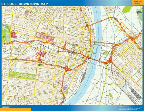 downtown map st louis downtown map netmaps usa wall maps shop