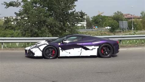 purple laferrari purple laferrari one spotted driving around maranello
