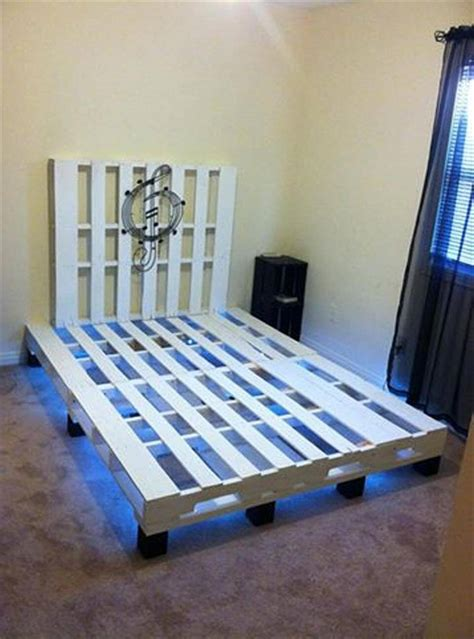 bed with pallets pallet bed with under lights 101 pallets