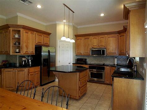 Pictures Of Kitchens And Black Appliances Enchanting Home Kitchen Colors With Oak Cabinets And Black Countertops