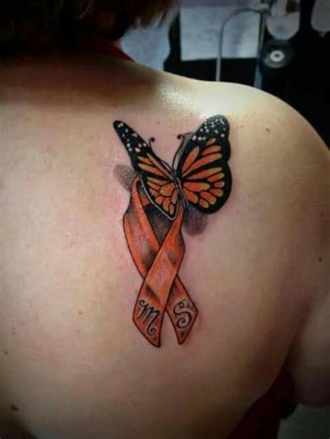 ms ribbon color 3d butterfly with orange ms ribbon
