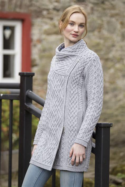 sweater pattern knit side to side women s cable knit side zip coat soft grey aran