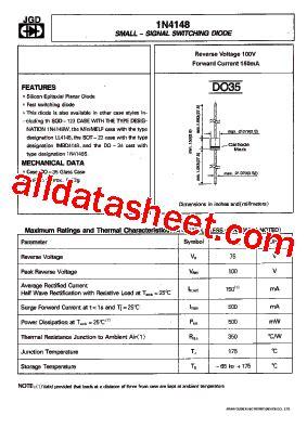4148 diode pdf 1n4148 데이터시트 pdf jinan gude electronic device