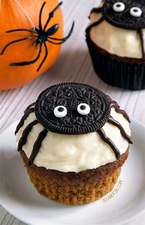 Spider Cupcakes for Halloween (gluten free, grain free, whole grain, all purpose flour options