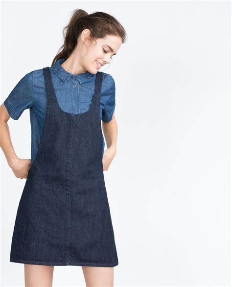 zara pattern maker quot essentials quot denim pinafore dress view all dresses woman