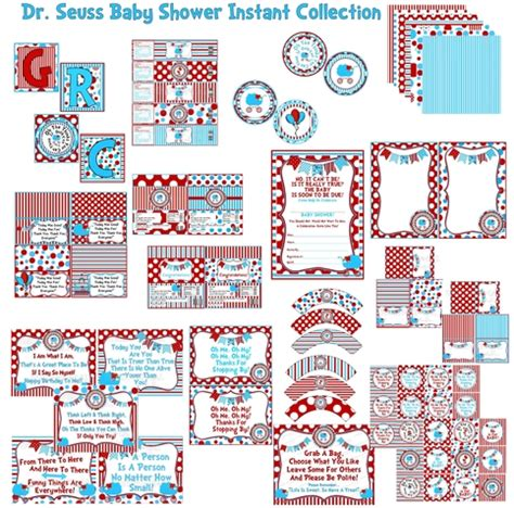 dr seuss baby shower printables whimsically detailed instant collection dr seuss baby