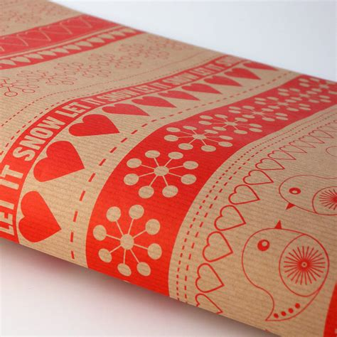 kraft white classic robin ribbon christmas giftwrap set by
