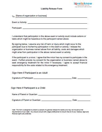 free liability release forms
