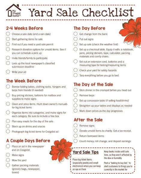 yard sale supply checklist free printable yard sale checklist