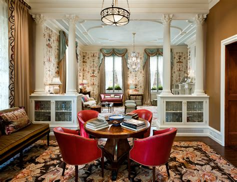 glass doors built in bench traditional pillar living room with chairs
